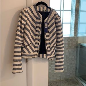 Navy and Cream colored jacket from Rebecca Minkoff